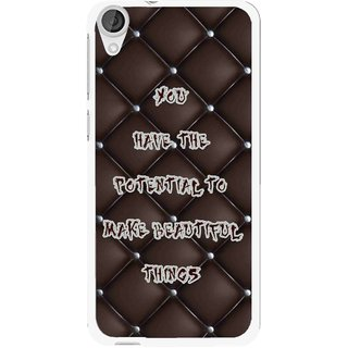 Snooky Printed Beautiful Things Mobile Back Cover For HTC Desire 820 - Brown