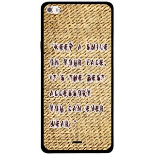 Snooky Printed Keep A Smile Mobile Back Cover For Micromax Canvas Sliver 5 Q450 - Brown