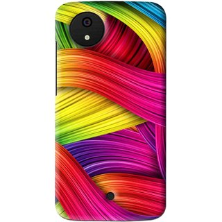 Snooky Printed Color Waves Mobile Back Cover For Micromax Canvas Android One - Multi