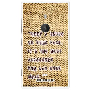 Snooky Printed Keep A Smile Mobile Back Cover For Nokia Lumia 925 - Brown