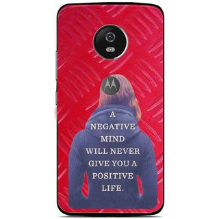Snooky Printed Be Positive Mobile Back Cover For Moto G5 - Red