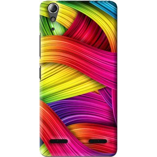 Snooky Printed Color Waves Mobile Back Cover For Lenovo A6000 Plus - Multi