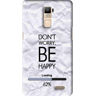 Snooky Printed Be Happy Mobile Back Cover For Oppo R7 Plus - Grey