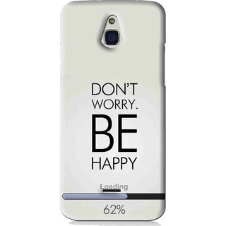 Snooky Printed Be Happy Mobile Back Cover For Infocus M2 - Grey