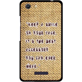 Snooky Printed Keep A Smile Mobile Back Cover For Micromax Canvas Unite 3 - Brown