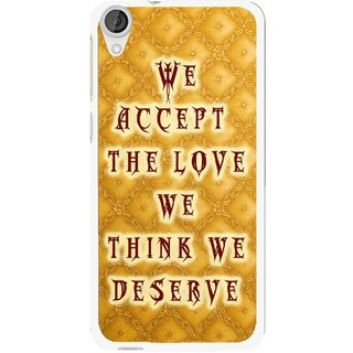 Snooky Printed Accept Love Mobile Back Cover For HTC Desire 820 - Yellow