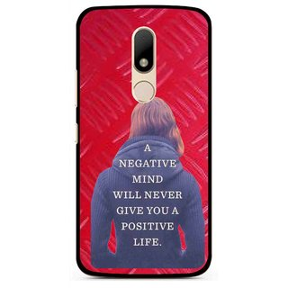 Snooky Printed Be Positive Mobile Back Cover For Motorola Moto M - Red