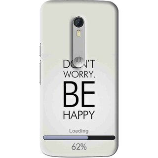 Snooky Printed Be Happy Mobile Back Cover For Motorola Moto X Style - Grey