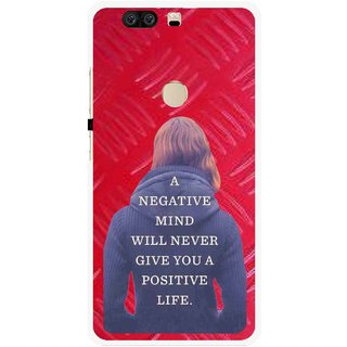 Snooky Printed Be Positive Mobile Back Cover For Huawei Honor 8 - Red