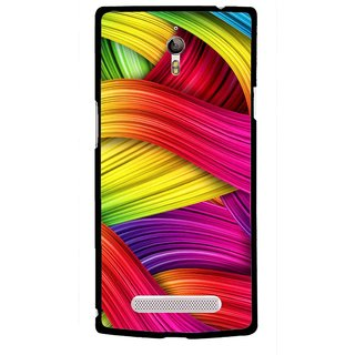 Snooky Printed Color Waves Mobile Back Cover For Oppo Find 7 - Multi