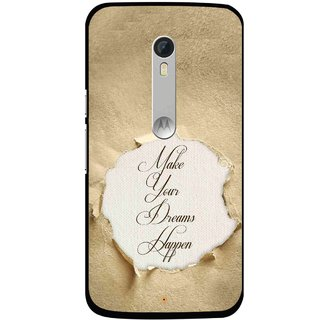Snooky Printed Dreams Happen Mobile Back Cover For Motorola Moto X Style - Brown