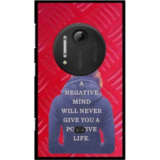 Snooky Printed Be Positive Mobile Back Cover For Nokia Lumia 1020 - Red