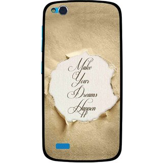 Snooky Printed Dreams Happen Mobile Back Cover For Gionee Elife E3 - Brown
