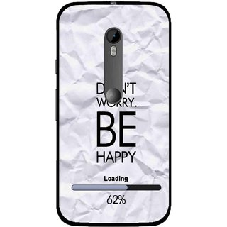 Snooky Printed Be Happy Mobile Back Cover For Moto G3 - Grey