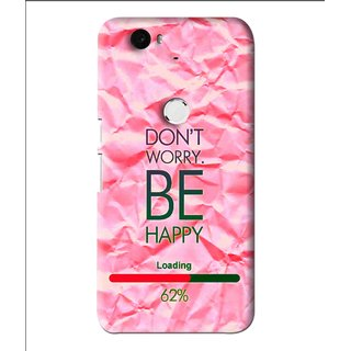Snooky Printed Be Happy Mobile Back Cover For Huawei Nexus 6P - Pink