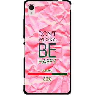 Snooky Printed Be Happy Mobile Back Cover For Sony Xperia M4 - Pink