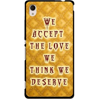 Snooky Printed Accept Love Mobile Back Cover For Sony Xperia M4 - Yellow