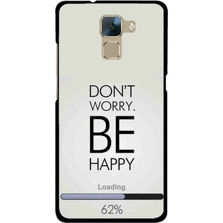 Snooky Printed Be Happy Mobile Back Cover For Huawei Honor 7 - Grey