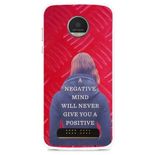 Snooky Printed Be Positive Mobile Back Cover For Moto Z - Red