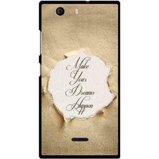 Snooky Printed Dreams Happen Mobile Back Cover For Micromax Canvas Nitro 2 A311 - Brown