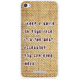 Snooky Printed Keep A Smile Mobile Back Cover For Micromax Canvas Hue 2 - Brown