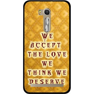 Snooky Printed Accept Love Mobile Back Cover For Asus Zenfone Go ZB551KL - Yellow