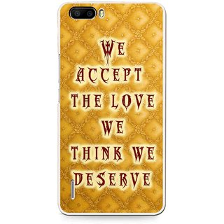 Snooky Printed Accept Love Mobile Back Cover For Huawei Honor 6 Plus - Yellow