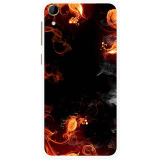 Snooky Printed Fire Lamp Mobile Back Cover For HTC Desire 728 - Orange