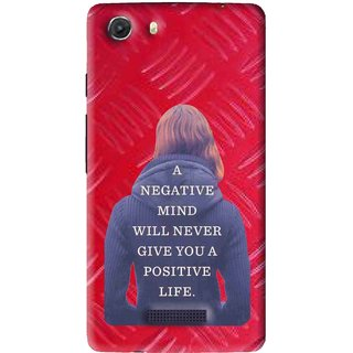 Snooky Printed Be Positive Mobile Back Cover For Micromax Canvas Unite 3 - Red