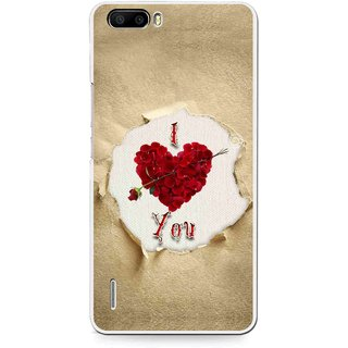 Snooky Printed Love Heart Mobile Back Cover For Huawei Honor 6 Plus - Multi