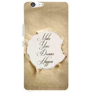 Snooky Printed Dreams Happen Mobile Back Cover For Gionee Marathon M5 - Brown