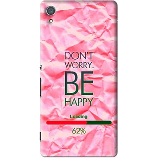 Snooky Printed Be Happy Mobile Back Cover For Sony Xperia Z4 - Pink