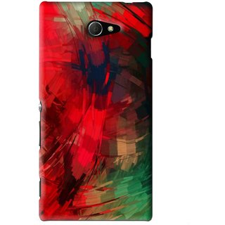 Snooky Printed Modern Art Mobile Back Cover For Sony Xperia M2 - Red