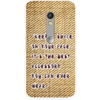 Snooky Printed Keep A Smile Mobile Back Cover For Motorola Moto X Play - Brown