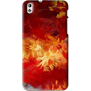 Snooky Printed Flamy Fire Mobile Back Cover For HTC Desire 816 - Red