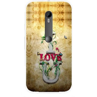 Snooky Printed I Love You Mobile Back Cover For Moto G3 - Brown