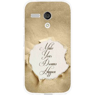 Snooky Printed Dreams Happen Mobile Back Cover For Moto G - Brown