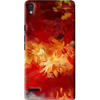 Snooky Printed Flamy Fire Mobile Back Cover For Huawei Ascend P6 - Red