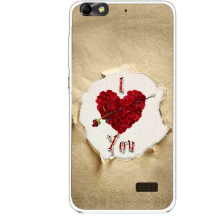 Snooky Printed Love Heart Mobile Back Cover For Huawei Honor 4C - Multi