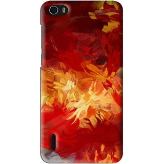 Snooky Printed Flamy Fire Mobile Back Cover For Huawei Honor 6 - Red