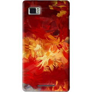 Snooky Printed Flamy Fire Mobile Back Cover For Lenovo K910 - Red