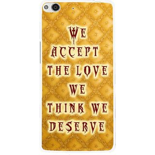 Snooky Printed Accept Love Mobile Back Cover For Gionee Elife E6 - Yellow