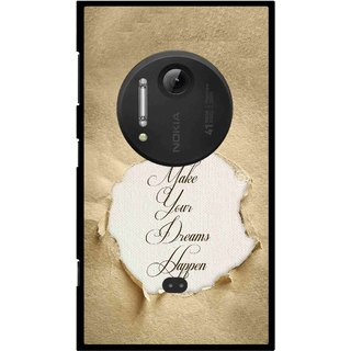 Snooky Printed Dreams Happen Mobile Back Cover For Nokia Lumia 1020 - Brown