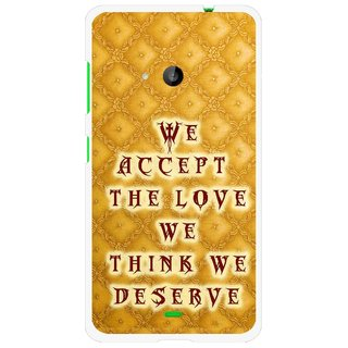 Snooky Printed Accept Love Mobile Back Cover For Microsoft Lumia 535 - Yellow