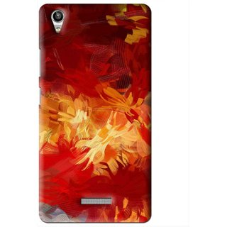Snooky Printed Flamy Fire Mobile Back Cover For Lava Pixel V1 - Red