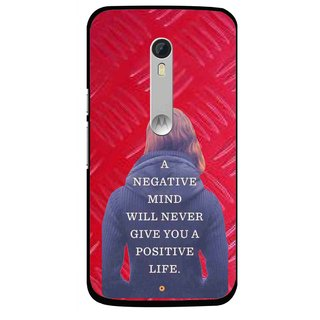 Snooky Printed Be Positive Mobile Back Cover For Motorola Moto X Style - Red