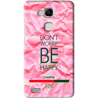 Snooky Printed Be Happy Mobile Back Cover For Huawei Ascend Mate 7 - Pink