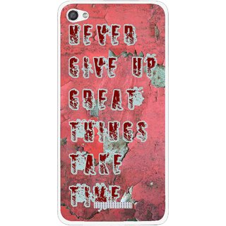 Snooky Printed Never Give Up Mobile Back Cover For Micromax Canvas Hue 2 - Red