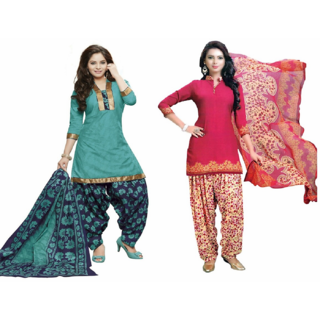 REYA Womens Ethnic wear Premium Crepe unstitched pack of 2 combo salwar suits Dupatta dress material