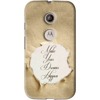 Snooky Printed Dreams Happen Mobile Back Cover For Motorola Moto E2 - Brown